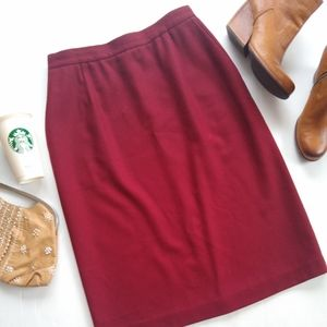 Vintage • red Merino wool high waist midi skirt